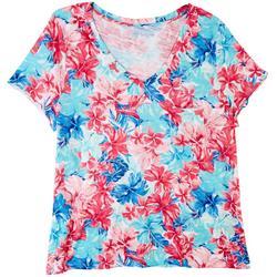Plus Luxey V-Neck Floral T-Shirt