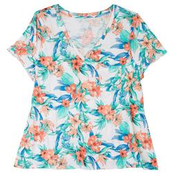 Plus Luxey V-Neck Bright Floral T-Shirt