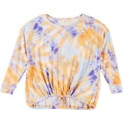 Ava James Womens Plus Tie Dye Waffle Knit Hem Top