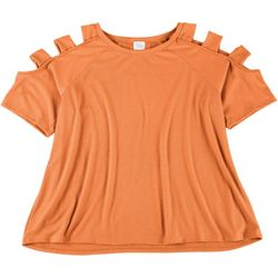 Ava James Womens Plus Ribbed Cold Shoulder Short Sleeve Top