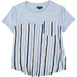 Indigo Poppy Plus Striped Short Sleeve Top