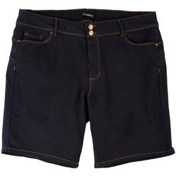 Plus Solid Jean Shorts