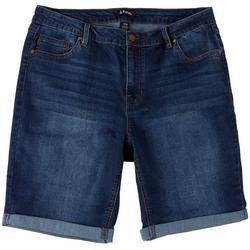 Plus Solid Denim Bermuda Shorts