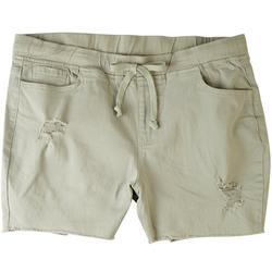 Plus Elastic Waist Destroyed Shorts