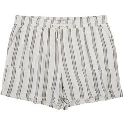 Per Se Plus Roll Cuffed Strip Printed Shorts With Pockets