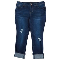 Royalty by YMI Plus Straight Cuffed Jeans Distressed