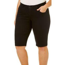 Democracy Plus Solid Bermuda Shorts With Rolled Hem