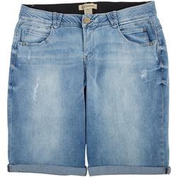 Plus Distressed Mold & Hold Bermuda Shorts