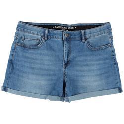 Plus Elastic Waist Denim Shorts