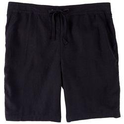 Per Se Plus Elastic Waist Linen Bermuda Shorts