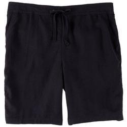 Plus Elastic Waist Linen Bermuda Shorts