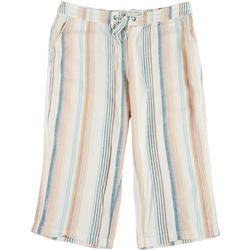 Plus Rainbow Stripe Fabric Cropped Pants