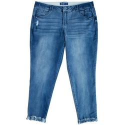 Plus Distressed Frayed Ankle Pants