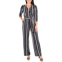 NY Collection Womens Stripe Faux Wrap Jumpsuit