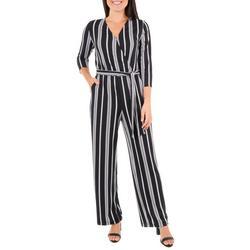 Womens Stripe Faux Wrap Jumpsuit