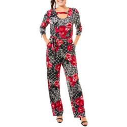 Womens Floral Patchwork Cut-Out Jump