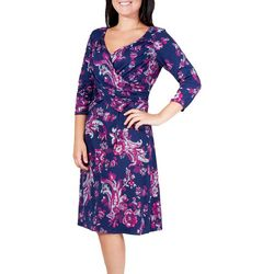 NY Collection Womens Floral Ruched Flared Dress