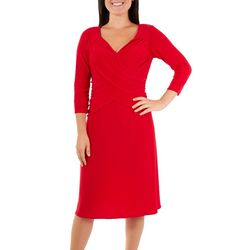 NY Collection Womens Ruched Flared Dress