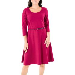 NY Collection Womens Belted Fit and Flare Dress