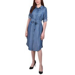 NY Collection Petite Roll Tab Sleeve Denim Dress