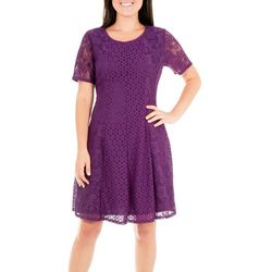 NY Collection Womens Dual Lace Panel Dress