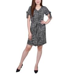 Petite Printed Belted Shirt Dress