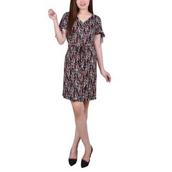 NY Collection Petite Printed Belted Shirt Dress