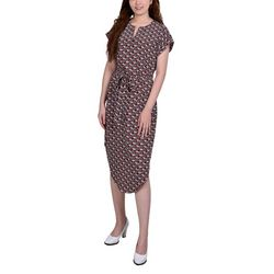 NY Collection Petite Split Neck Printed Dress