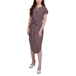 Petite Split Neck Printed Dress