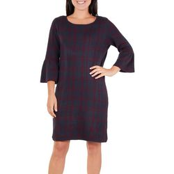 NY Collection Womens Plaid Bell Sleeve Sweater Dress