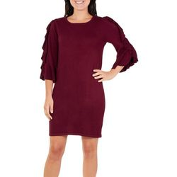 Womens Cascading Ruffle Sweater Dress