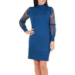 Womens Mock Neck Lace Sleeve Sweater