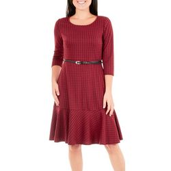 NY Collection Womens Belted Plaid Flare Dress