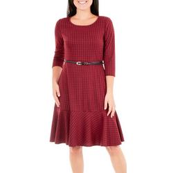 Womens Belted Plaid Flare Dress