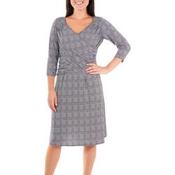 Womens Plaid Ruched Flared Dress