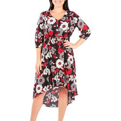 NY Collection Petite Floral Printed High Low Dress