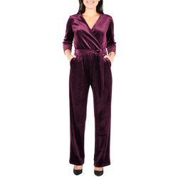 NY Collection Petite Faux Wrap Velvet Jumpsuit