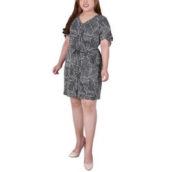 NY Collection Plus Tie Sleeve Button Down Dress