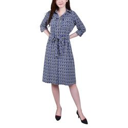 NY Collection Womens Geometric Print Belted Shirt Dress