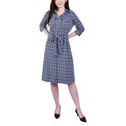 Womens Geometric Print Belted Shirt Dress