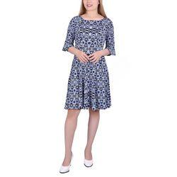 NY Collection Petite Geometric Print A-Line Dress