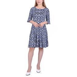 Petite Geometric Print A-Line Dress