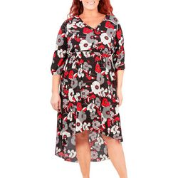 NY Collection Plus Floral Printed High Low V-Neck Dress