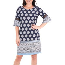 NY Collection Womens Crochet Bell Sleeve Dress