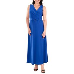 NY Collection Womens Solid Wrap Maxi Dress & Belt