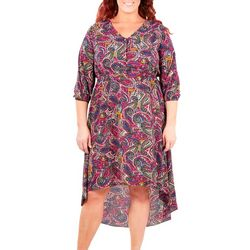 NY Collection Plus Paisley Printed High Low V-Neck Dress
