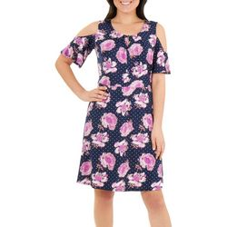 NY Collection Womens Floral Cold Shoulder Neck Pleated Dress