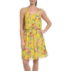 NY Collection Petite Floral Pleated Popover Dress