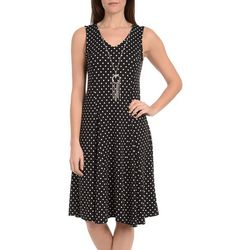 NY Collection Petite Godet Dress with Necklace