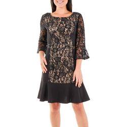 NY Collection Womens Lace Panel Sheath Dress